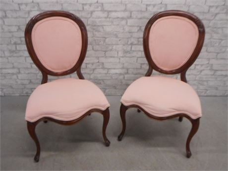 2 VICTORIAN STYLE OVAL BACK SIDE CHAIRS