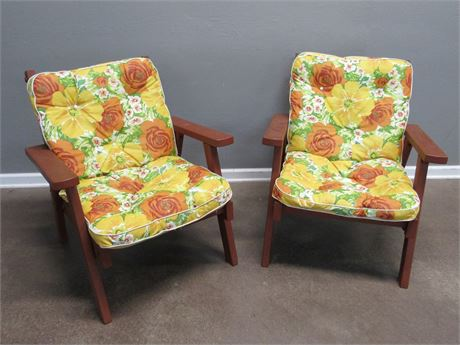 2 Vintage Painted Redwood Style Outdoor/Patio Chairs