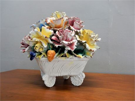 Capodimonte  Large Floral Pottery Made in Italy