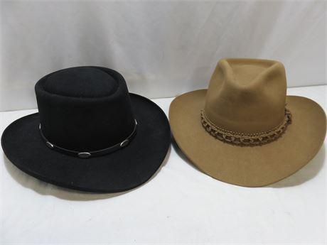 STETSON & RESISTOL Cowboy Hats - SIZE 7-1/8