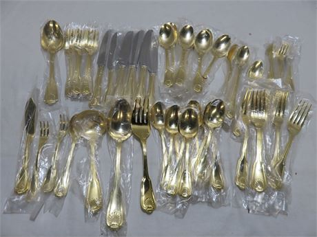 ROYAL SHELL 70-Piece Gold Plated Flatware Set