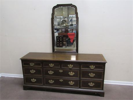 18TH CENTURY BY DREXEL DRESSER WITH BEVELED GLASS MIRROR