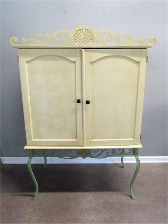 Vintage Look Painted Storage/Entertainment Cabinet with a Wrought Iron Base