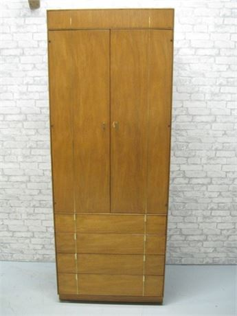 HICKORY MANUFACTURING MID CENTURY TALL ARMOIRE