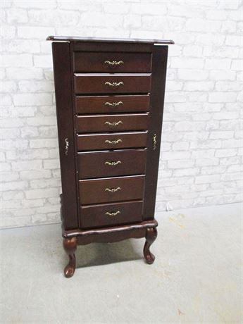 8-DRAWER QUEEN ANNE JEWELRY ARMOIRE