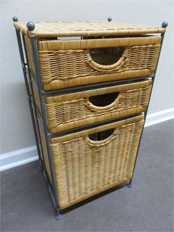 Wicker 3-Basket Drawer Stand
