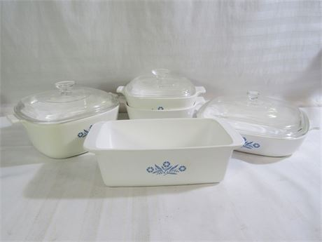 8 PIECE CORNING WARE BLUE CORNFLOWER COOKWARE LOT