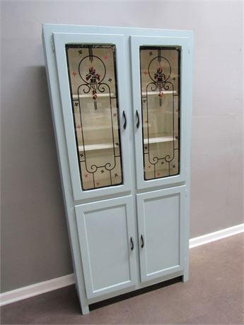 Vintage 1940's/50's Kitchen Cupboard/Cabinet with Stenciled Glass Doors