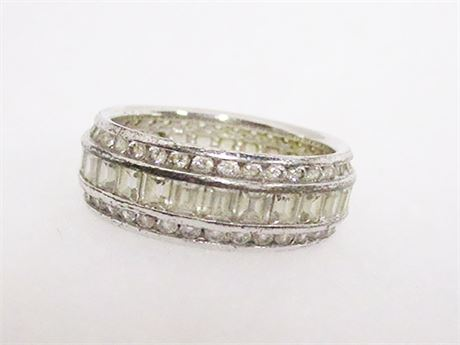 SIZE 6.5 STERLING SILVER AND CUBIC ZIRCONIA RING