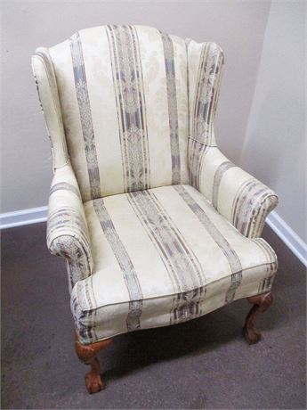 VERY NICE WING CHAIR WITH BALL AND CLAW FEET