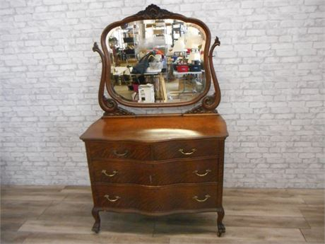 ANTIQUE VICTORIAN SERPENTINE FRONT DRESSER WITH MIRROR - PIN & COVE DRAWERS