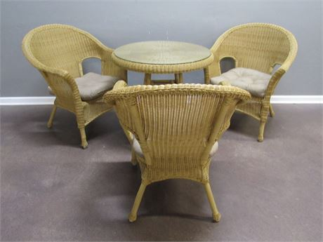 Small Wicker Table with Protective Glass Top and 3 Chairs