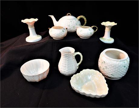 Vintage Belleek From Ireland Basket weave Shamrock Tea Set and More