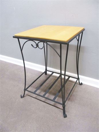 WROUGHT IRON/WOOD SIDE TABLE