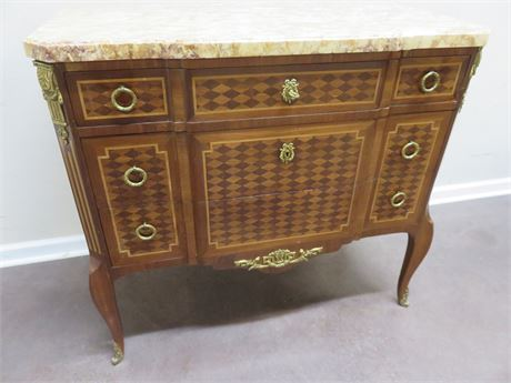 Vintage French Provincial Marble Top Sideboard
