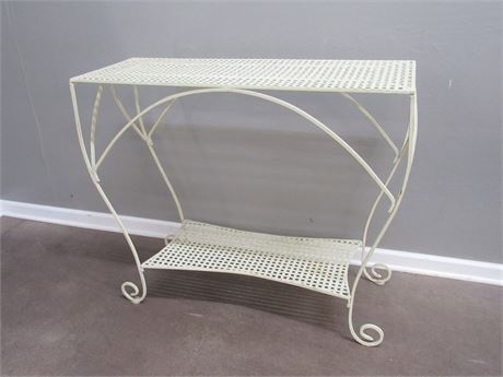 Wrought Iron and Woven Metal Plant Stand