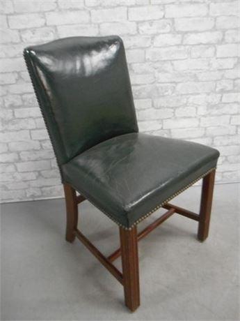 VINTAGE GREEN LEATHER OFFICE/SIDE CHAIR WITH NAILHEAD TRIM
