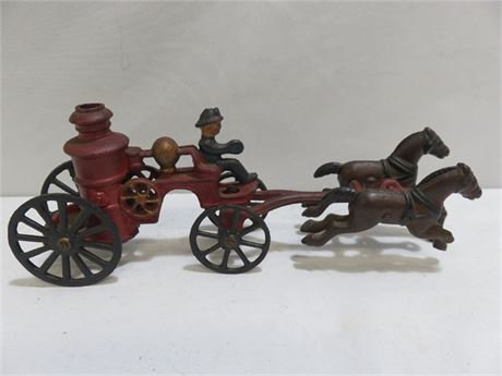 Vintage Cast Iron Horse Drawn Fire Truck