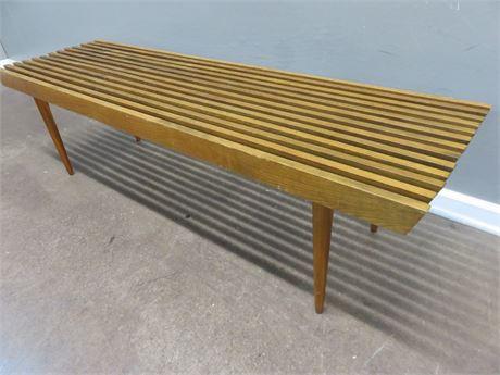 Vintage Mid-Century Slat Bench