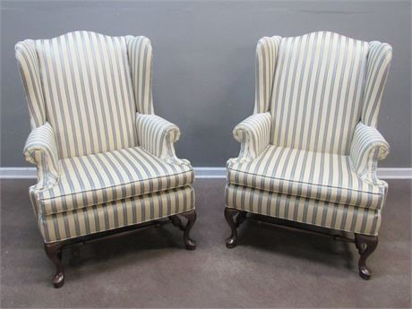 2 Ethan Allen High-back Wing-back Fireside Chairs with Striped Upholstery