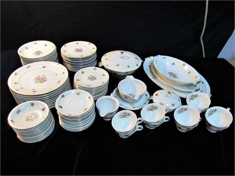 Large Royal Embassy Pasadena Floral China Dinnerware Lot - 87 Pieces