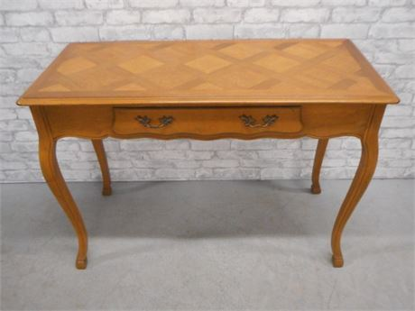 NICE SOFA/WRITING TABLE WITH PARQUET DESIGNED TOP AND CABRIOLE LEGS