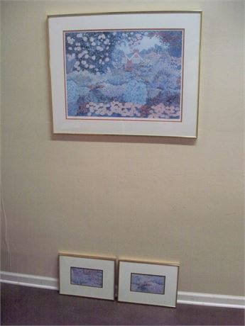 3 PIECE FRAMED MATTED SIGNED AND NUMBERED ARTWORK PRINTS (#79/500)