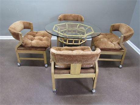 Flair by Bernhardt Glass Top Rattan and Chrome Dinette with 4 Chairs on Casters