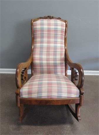 Antique Lincoln Rocking Chair with Plaid Upholstery - Nice Carved Details
