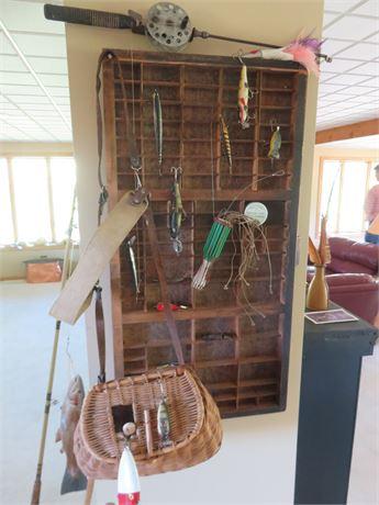 Vintage Fishing Gear Wall Display