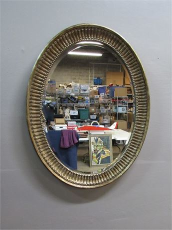 Oval Beveled Glass Mirror with Gold Finished Framed