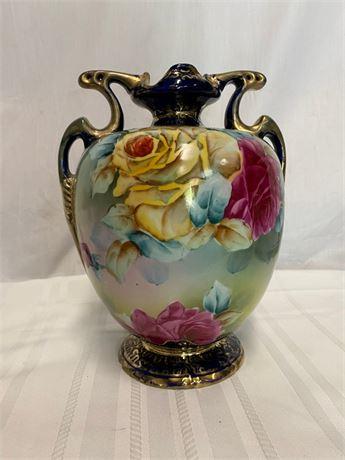 Vintage Roses Trimmed in Gold Vase