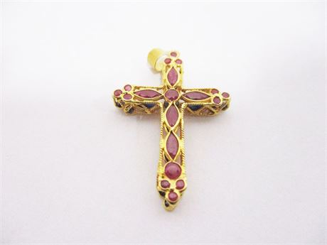 18K GOLD RUBY AND SAPPHIRE CROSS