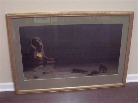 LARGE FRAMED AND MATTED PRINT - REST ON THE FLIGHT TO EGYPT - LUC-OLIVIER MERSON