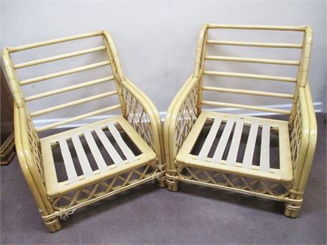 LOT OF 2 RATTAN BAMBOO CHAIRS