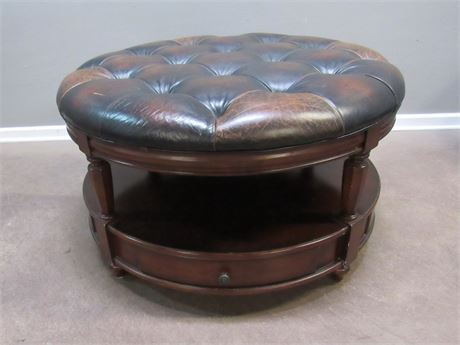 Large Round Leather Top Ottoman/Coffee Table with 2 Drawers