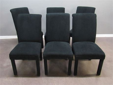 6 Black Upholstered Dining Chairs