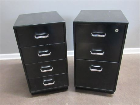 2 Black Metal Office Cabinets