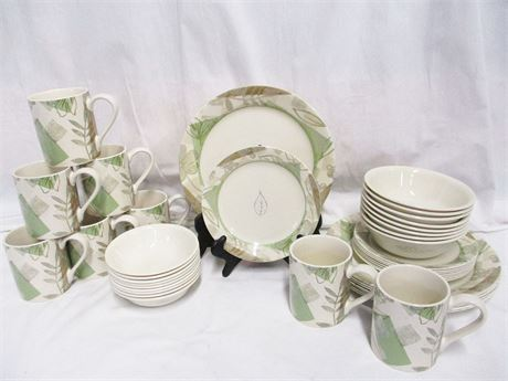 """8 PLACE SETTINGS CORELLE """"TEXTURED LEAVES"""" DINNER WARE (DISCONTINUED)"""