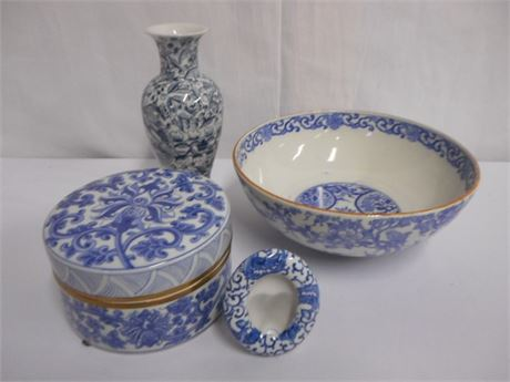 4 PIECE BLUE AND WHITE CHINA LOT