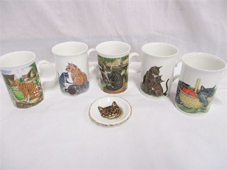LOT OF 5 CAT MUGS