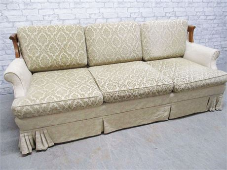 WOOD-ACCENTED SOFA