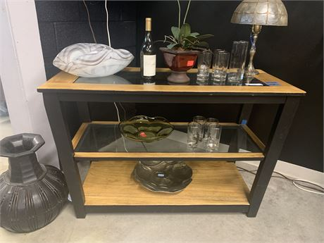 Two Tier Glass Insert Sofa Table