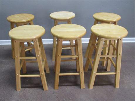 6 Wood Bar Stools