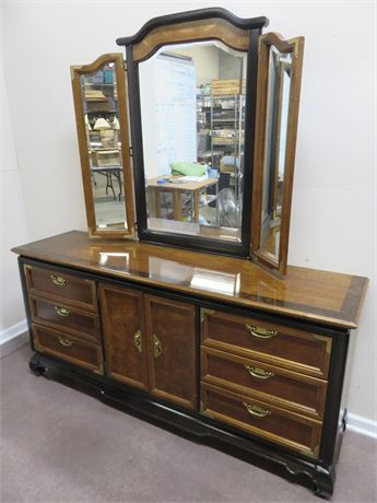 "BROYHILL Premier ""Ming Dynasty"" Asian Triple Dresser & Mirror"