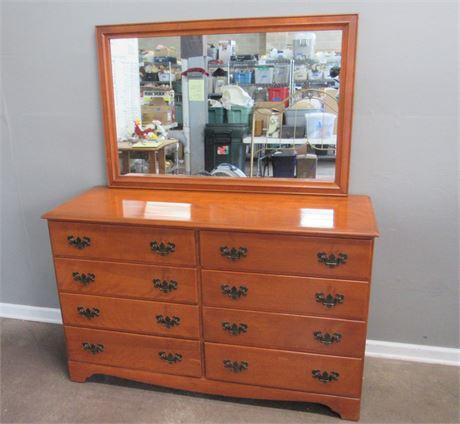 Vintage 8 Drawer Baumritter Maple Dresser with Mirror