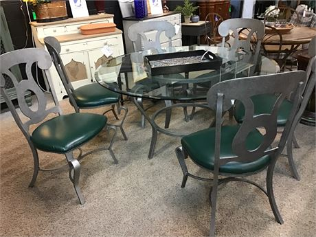 Modern Dining Set Round Glass Table 6 & Chairs