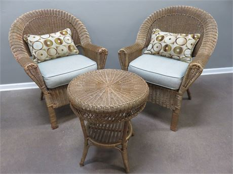 Wicker Chairs & Table Set