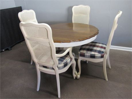 Pedestal Dining Table with 4 Cane-back Chairs and 2 Leaves