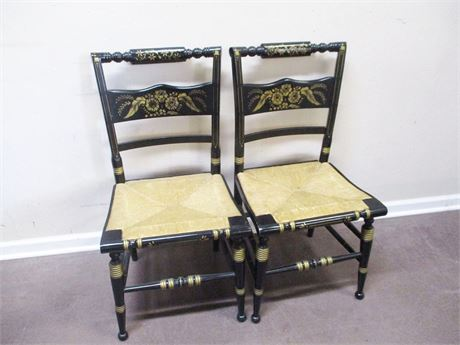 LOT OF 2 TELL CITY HITCHCOCK-STYLE RUSH SEAT CHAIRS